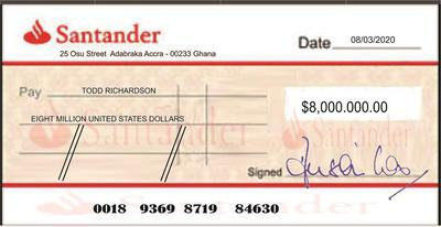 A Fake Santander Bank Check