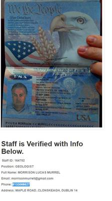 A US Passport On View at a Fake Oil Company