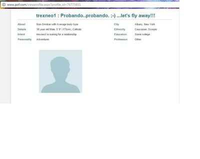 Profile on Plenty of Fish Dating Site